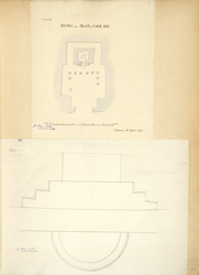 Ellora: Plan of Cave XIX (top), Rameshvar, plan of door (bottom)
